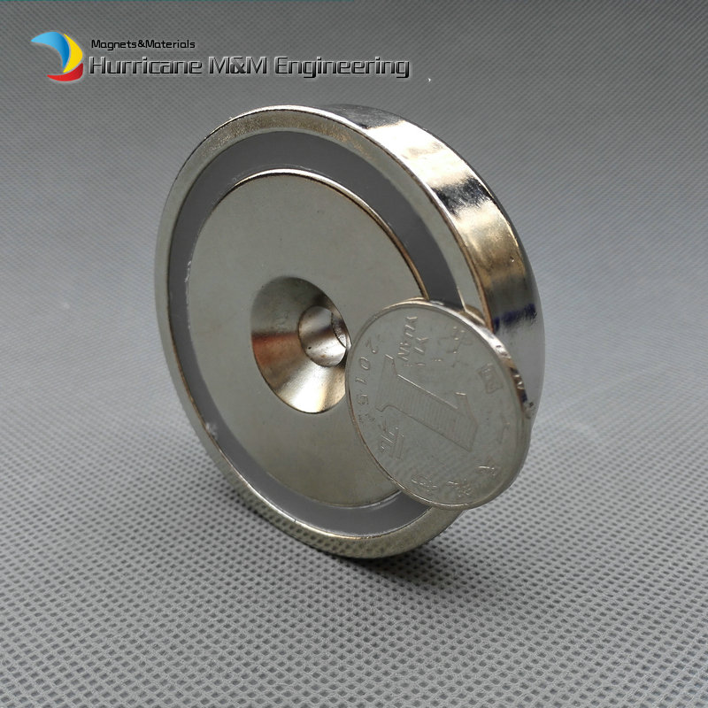 105kg Pulling Pot Magnet Dia 60x15 mm M8 Countersunk Hole Mounting Magnetic Strong Magnet Neodymium Permanent Magnets NiCuNi
