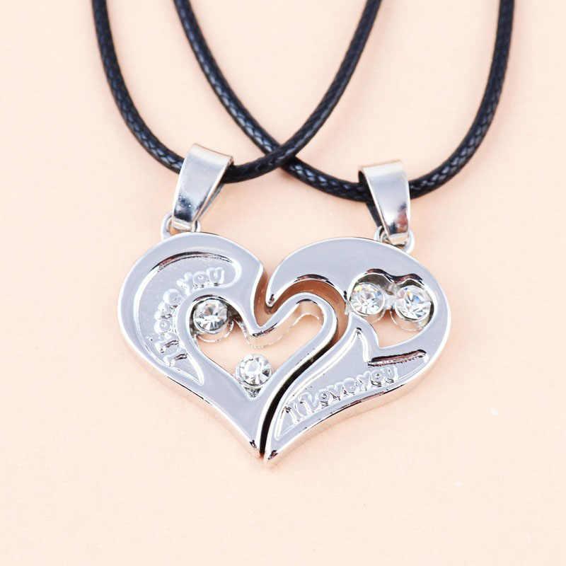 LNRRABC แฟชั่น 1 ชุด Unisex ผู้หญิงผู้ชาย I Love You รูปหัวใจจี้สร้อยคอสำหรับคนรักคู่เครื่องประดับของขวัญ