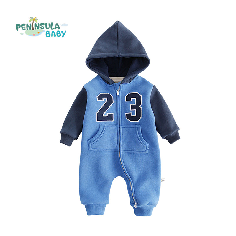 Baby Thicker Coverall Winter Long Sleeve Jumpsuits Newborn Boys Girls Cute Letter Clothes Hooded Cotton Warm Outerwear Rompers baby climb clothing newborn boys girls warm romper spring autumn winter baby cotton knit jumpsuits 0 18m long sleeves rompers