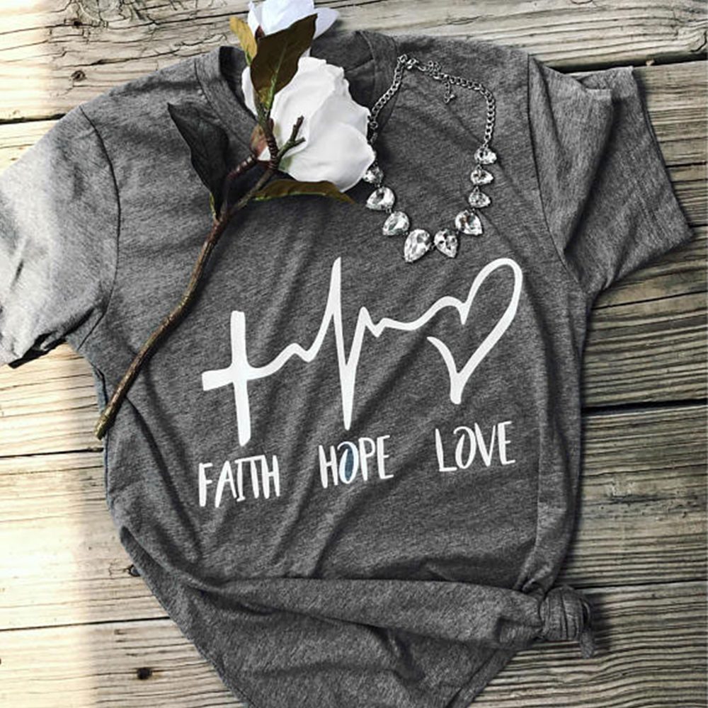 48 hour delivery 2018 Women T-Shirt Summer Short Sleeve Faith Hope Love T Shirt O-Neck Casual Ladies Tee Valentine Tops