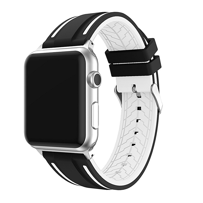 JANSIN Sport band for apple watch series 4 3 2 1 strap for iWatch  Soft Silicone Replacement band adapter 38mm 40mm 42mm 44mm 5