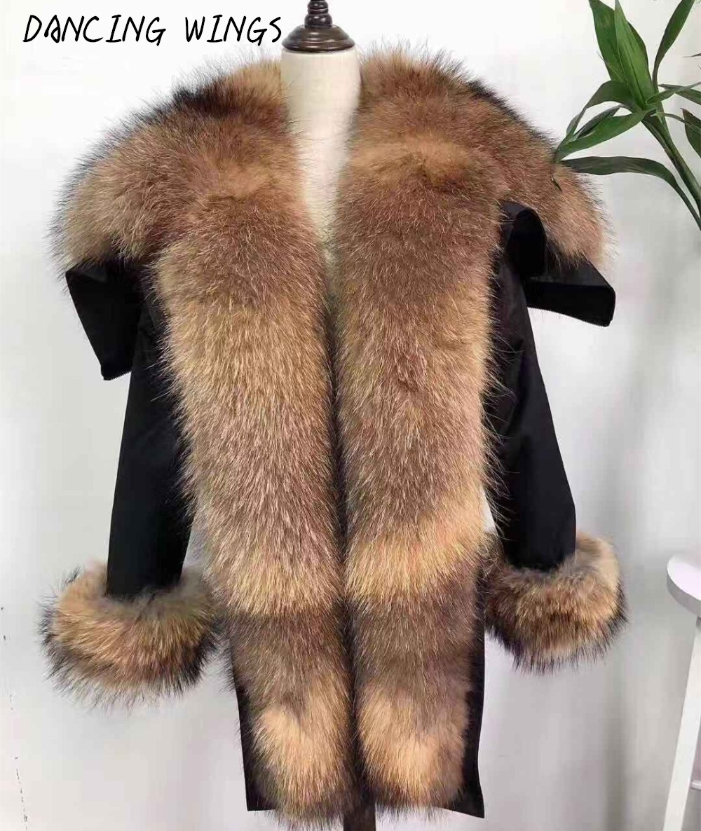 Hooded Winter   Down     Coat   Jacket Oversized Natural Raccoon Fur Collar   Down   Parka Outerwear Women's Real Fox Fur   Coat
