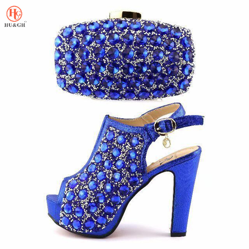 все цены на Blue Color Fashion Italian Shoes With Matching Bags Set For Wedding And Party African Shoes And Bag Sets with Full Rhinestones онлайн