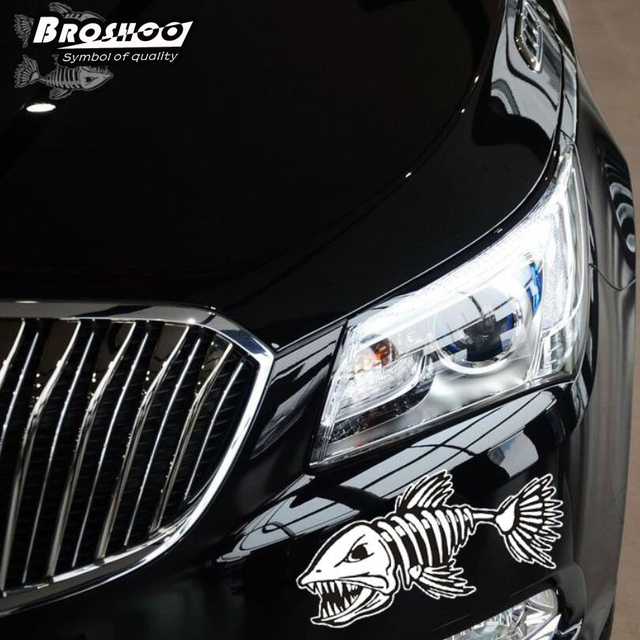 Broshoo fearsome cartoon shark skeleton car sticker reflective fish cars decal car cover scratches decals car
