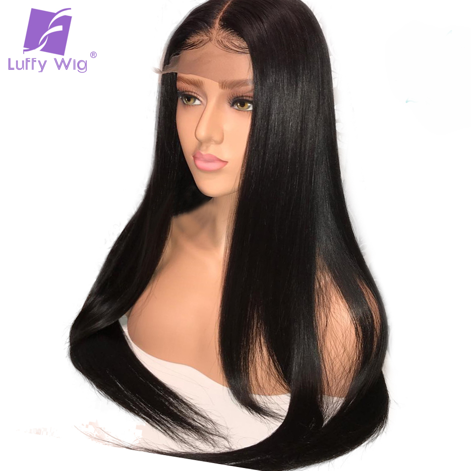 Luffy Silky Straight 5x4.5 Big Silk Base Full Lace Wig With Baby Hair Brazilian Non Remy Human Hair Wigs Pre Plucked Hairline