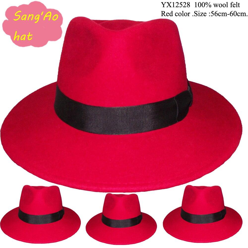wholesale new Red wool fedora hats with 8CM plain brim for men 100% wool  felt wear in winter  69bf2ffa570