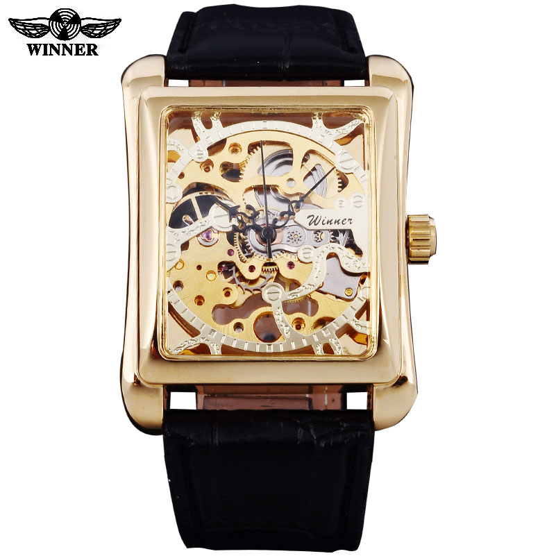 2016 Winner Brand Watches Men Rectangle Mechanical Hand Wind Watches Male Golden Skeleton Dial Artificial Leather Wristwatches fashion men mechanical hand wind watches men skeleton stainless steel wristwatches for male luxury golden watch men