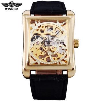 цена 2016 Winner Brand Watches Men Rectangle Mechanical Hand Wind Watches Male Golden Skeleton Dial Artificial Leather Wristwatches онлайн в 2017 году