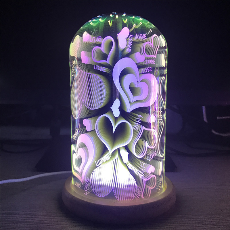 Creative 3D Illusion Led Night Light Multicolor Fireworks Oval Shaped USB Powered Novelty Lamp Indoor Decor Romantic Kids'Gifts