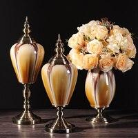 Стиль гостиная ТВ кабинет керамическая ваза украшения American Retro модели домашнего интерьера комнаты из мягкого украшения