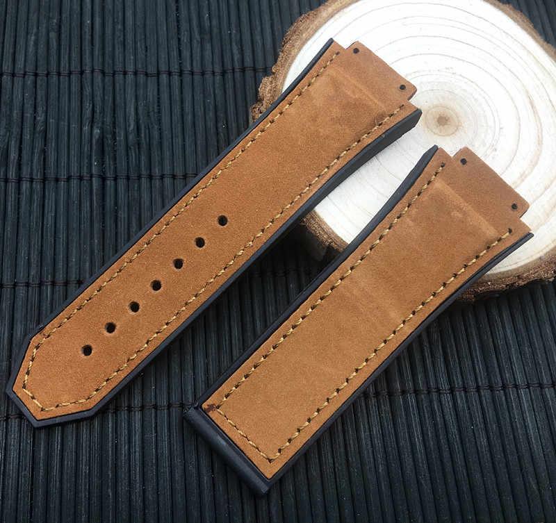 29*19mm Gila kulit kuda Alam tali karet silikon gelang jam watch band strap untuk Hublot untuk raja daya accessorie logo pada
