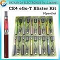 EGO CE4 kits Blister Cigarro Eletrônico 650 mah 900 mah 1100 mah com CE4 atomizador vaporizador ego t bateria e carregador, 10 pçs/lote