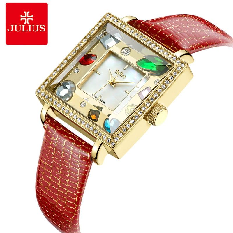 Julius Brand Square Dial Women Bracelet Watches Luxury Big Rhinestone ladies Leather Quartz Wrist watches Dress Gift Reloj Mujer стоимость