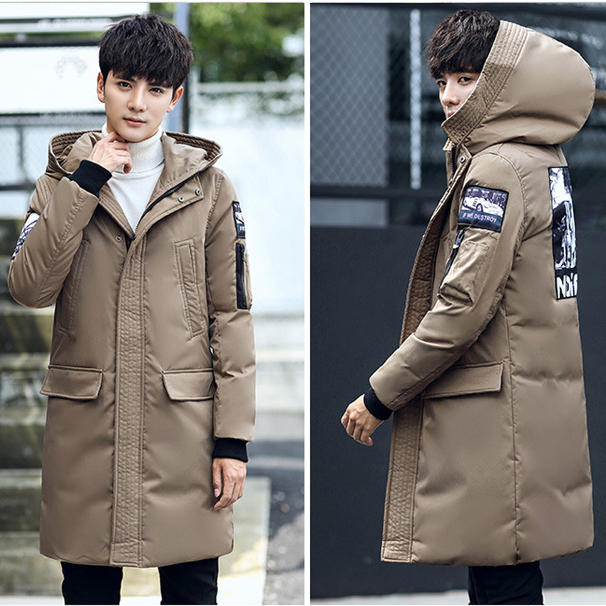 Men's Duck   Down   Jacket Winter White Duck   Down   Jackets Zipper   Coat   Natural Slim Warm Clothing Hooded Overcoat 110wy