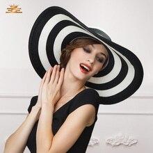 Новое прибытие соломы Sun Hat женщин Летний пляж Солнцезащитный крем УФ шляпы девочек шляпу Черный и белый полосатый случайный пляж Sun Beach B-7516