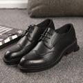 Высокое Качество Натуральная Кожа Мужчины Башмаки Обувь на Шнурках Мужчины Оксфорды Обувь Старинные Баллок Carve Формальная Обувь Мужчины Бизнес квартиры