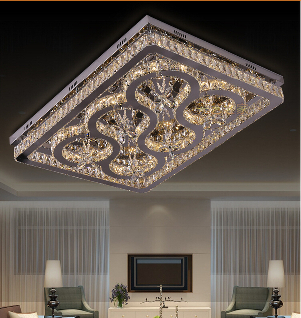New Arrival Modern Crystal Ceiling Light Modern Crystal LED Ceiling Light  Fixture Square Crystal Ceiling Lamp