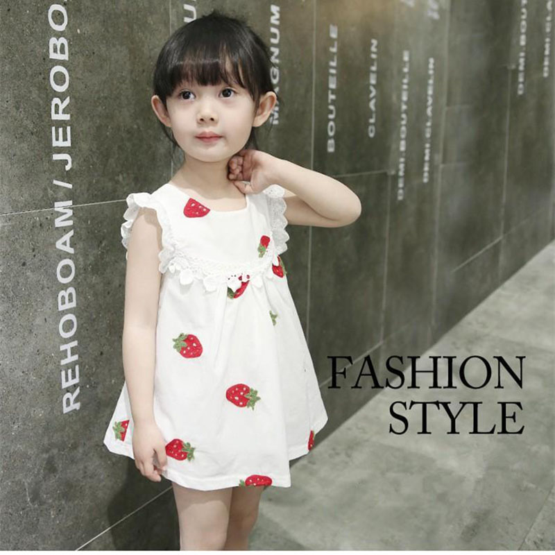0-2 Years Newborn Baby Girl Dress Summer 2018 Embroidery Flower Strawberry Cotton Clothing Infant Baby 1 Year Birthday Dresses