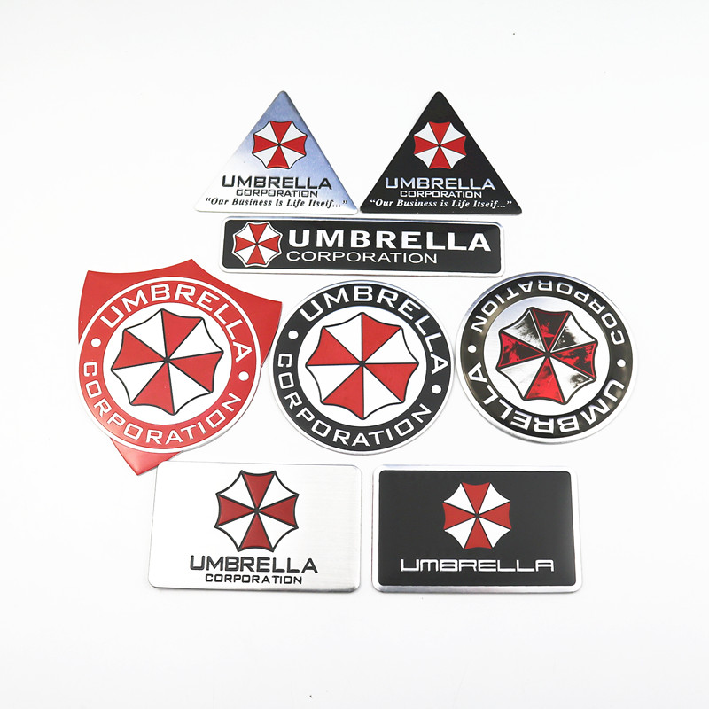 Car Styling 3D Aluminum Alloy Umbrella Corporation Car Stickers For Lada Opel Renault Chevrolet Kia Ford Seat Skoda Accessories