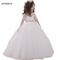 Ball Gown Beaded Short Sleeve Flower Girl Dresses Appliques Long Wedding Party Gowns For Kids abito comunione FLG111