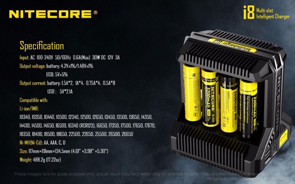 Nitecore i8 chargeur Intelligent 8 emplacements Total 4A sortie chargeur Intelligent pour IMR18650 16340 10440 AA AAA 14500 26650 et dispositif USB-in Chargeurs from Electronique    3