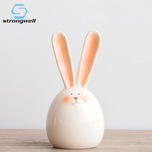 Strongwell Rabbit Round Rolling Figurine Home Decoration Accessories Ceramic Doll Birthday Gift Kids Lovely Decor