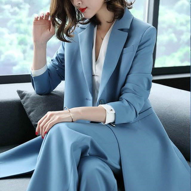 2018 Spring Women s 2 Pieces Sets Trench Coat and Wide Leg Pants Suit  Office Lady Blue Slim Fit Blazer Jackets Suits 0ba2525f49