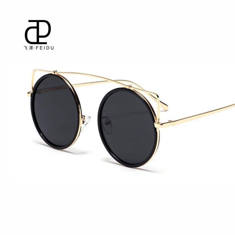 FEIDU Hot Rodada Óculos De Sol Das Mulheres de Alta Qualidade Do Vintage de  Luxo Da Marca Dos Óculos de Sol UV400 óculos de Sol Oculos Espelho Plano  Único 69e482c908