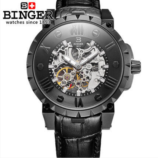 Switzerland BINGE watches men luxury brand mechanical hand wind full stainless steel Wristwatches water resistant B-5032-16 fashion men mechanical hand wind watches men skeleton stainless steel wristwatches for male luxury golden watch men