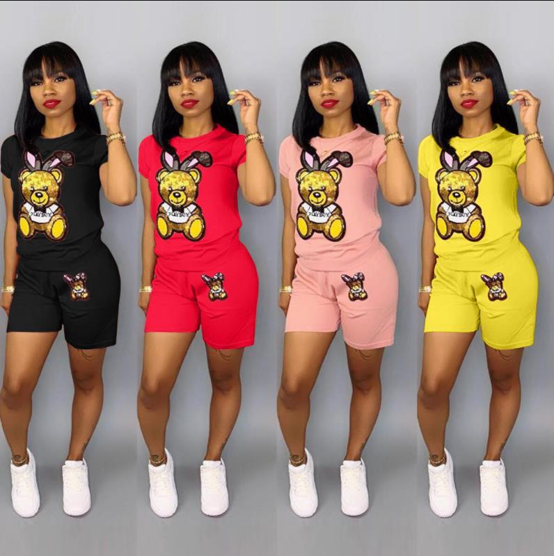 Sequin Cartoon Two Piece Short Plus Size Sets Women Casual Tracksuit Summer Fashion Tops Short Pants Sequin 2 Piece Outfit Q5090