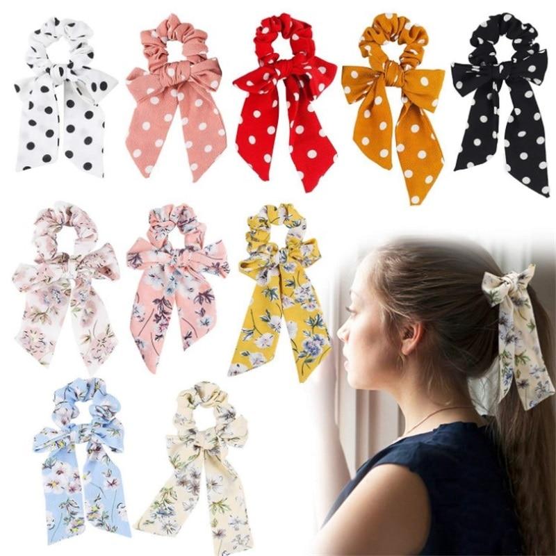2019 nueva bufanda del pelo de las mujeres de la Vendimia del Bowknot Streamers Scrunchies Cola de Caballo del verano diademas elásticas lazos del pelo para las niñas