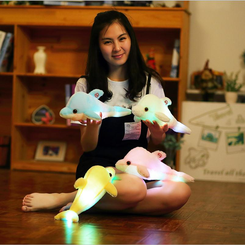 1pc 32cm Creative Luminous Plush Dolphin Doll Glowing Pillow, LED Light Plush Animal Toys Colorful Doll Kids Children's Gift glowing sneakers usb charging shoes lights up colorful led kids luminous sneakers glowing sneakers black led shoes for boys