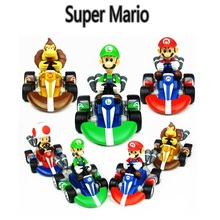 Cartoon Super Mario Racing Car Action Figure Toy Hot Game Super Mario Brother Model Car Toys Children Birthday Brinquedos Gift 4pcs lot super climber stikbot action figure toy cartoon spider man stik bot funny play collection jouet children birthday gift
