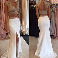 Glamorous Two Pieces Beaded Prom Gowns Sexy V Neck White Short Sleeve Evening Gowns Custom Made Open Back Party Maxi Dresses