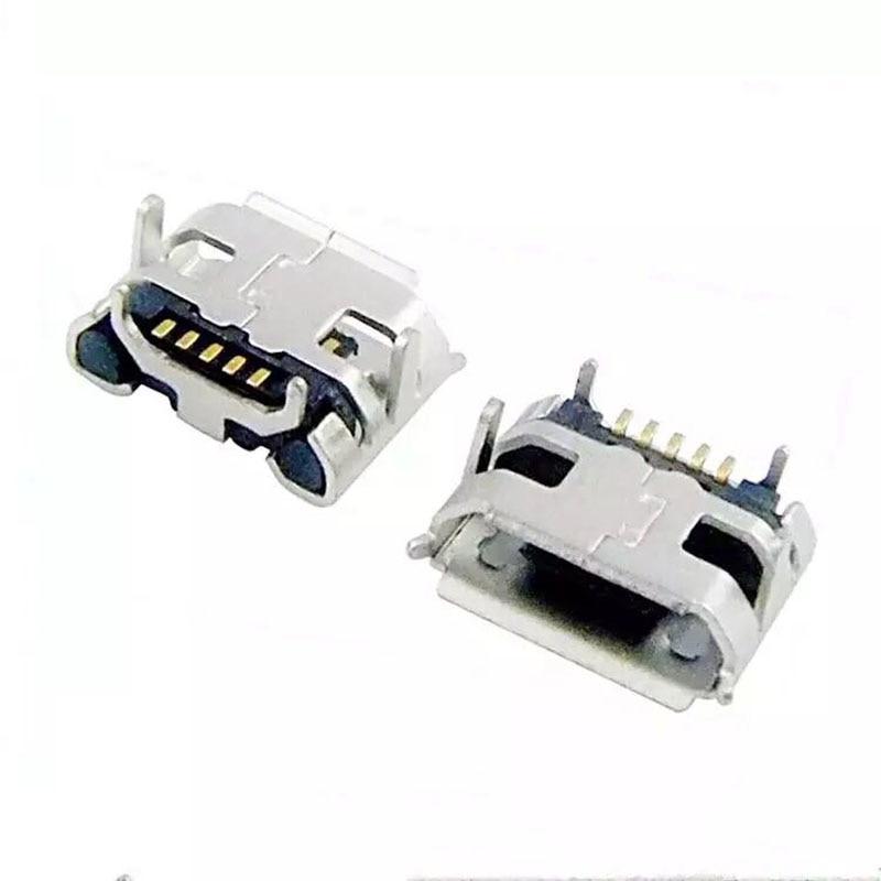 1000pcs Small Ox Horn 5Pin Micro USB Female Connector Jacks Socket Micro USB Tail Charging Port