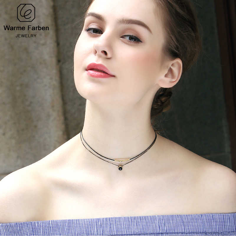 Warme Farben Women Choker Necklace Baroque Clavicle Black Double Rope link Chain Collares round crystal Pendant Necklace Torques