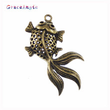 10PCS Vintage Style Bronze Tone Brass Goldfish Pendant Charm Jewelry Finding