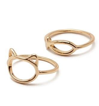 Women's Fish and Cat Shaped Rings 2 pcs Set