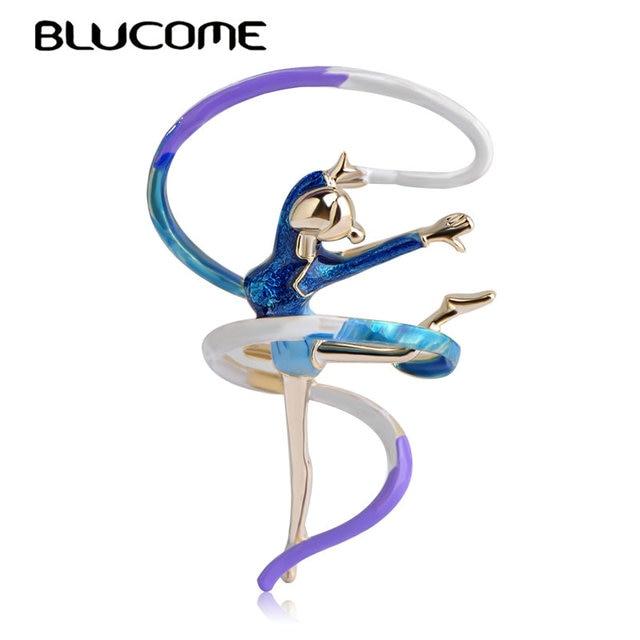 Blucome Fashion Sports Gymnastics Whirling Girls Ribbon Brooch Clothes Accessori