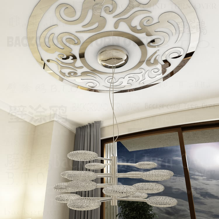Diy Traditionellen Chinesischen Kreis Traufe Fliesen Phoenix Muster Decke Aufkleber Vintage Wandspiegel Wohnzimmer Schlafzimmer R213