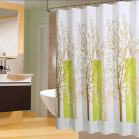 Plants Pattern Shower Curtains Waterproof Bathroom Curtain Polyester Eco Friendly Bath Curtain 12 Hooks