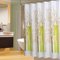 Plants Pattern Shower Curtains Waterproof Bathroom Curtain Polyester Eco Friendly Bath Curtain 12 Hooks