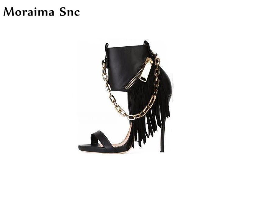 Moraima Snc Newest sexy women sandals Fringe metal chain zipper Decoration thin high heel party shoes Ankle strap peep toe moraima snc newest sexy women black string bead concise type sandals open toe thin high heel ankle strap hook solid party shoes