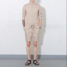 2017 Summer Men's Bib Boyfriend Jumpsuits Korean style singer costumes Khaki Military Cargo Pants Fashion Bib Overalls 041606
