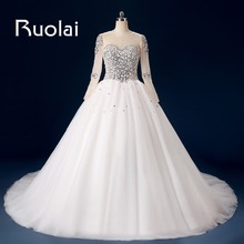 Charming Tulle Ball Gown Wedding Dress 2017 Chapel Train Scoop Heavy Beaded Crystal Pearls Bridal Dress Sheer Lace up Back