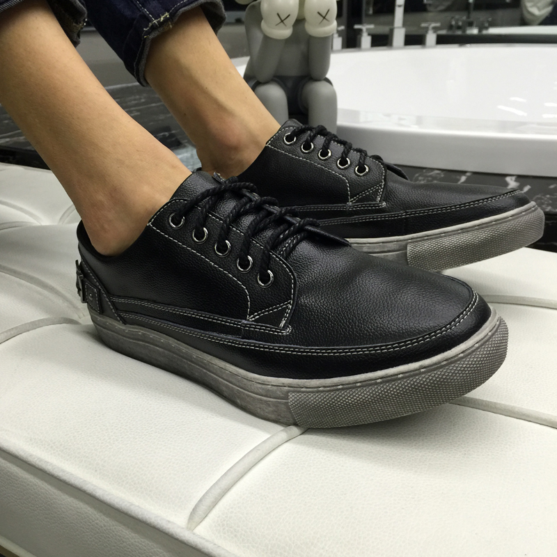 ФОТО Men Casual Shoes 2016 Men Classic Leather Shoes Summer Campus Walking Shoes Male Board Black Lace Up Shoes