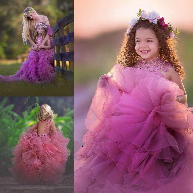 High Quqlity Tiered Tulle   Girls   Pageant Gowns with Train Keyhole Back Lace Top Csutomzied   Flower     Girl     Dress   For Wedding Vestidos