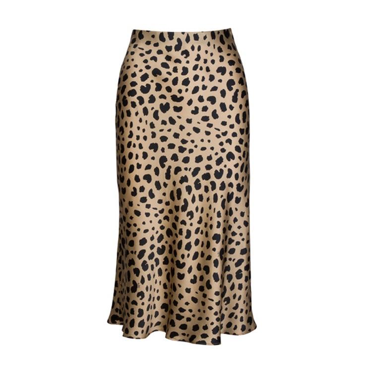 Hot Sale High Waist Leopard Midi Skirt Female Hidden Elasticized Waistband Silk Satin Skirts Slip Style Animal Print Skirt Women 12