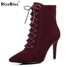 Rizabina Для женщин из натуральной кожи Высокий каблук Теплые Сапоги и ботинки для девочек дамы крест на молнии Теплые сапожки Для женщин теплые зимние Botas обувь размеры 32–40