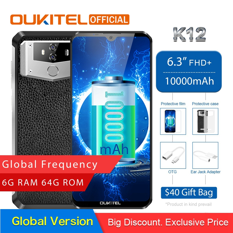 "OUKITEL K12 Android 9.0 Mobile Phone 6.3"" 19.5:9 MTK6765 6G RAM 64G ROM NFC 10000mAh 5V/6A Quick Charge Fingerprint Smartphone(China)"